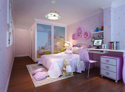 粉色兒童臥室裝修設計圖