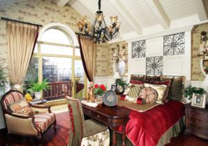 卧室 美式 背景墙 三居室装修