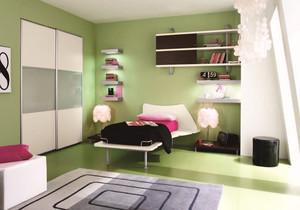 儿童房绿色壁纸装修效果图