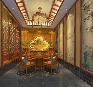 新中式养生会所大厅效果图
