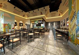 150平米的餐饮店面装修效果图