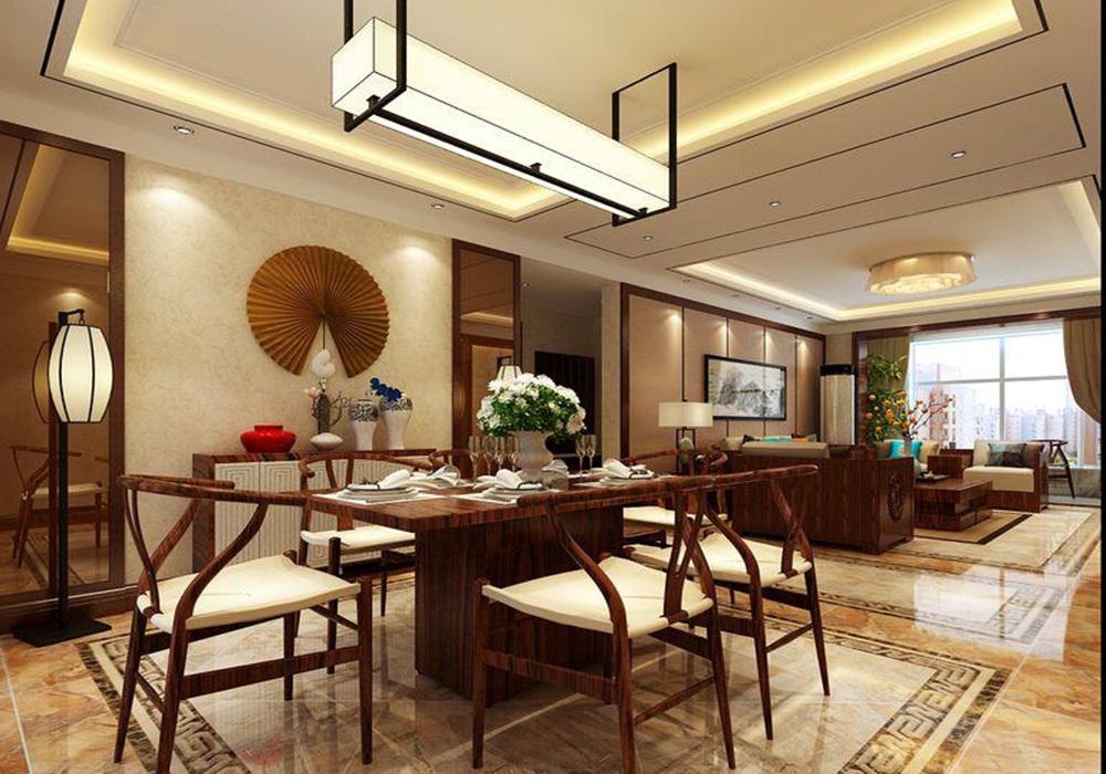 新中式客餐厅灯具装修效果图