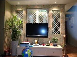 现代田园风格电视背景墙装修效果图