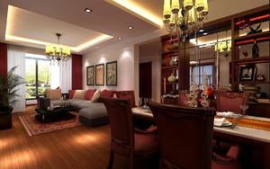 新中式客餐厅灯具装修效果图大全