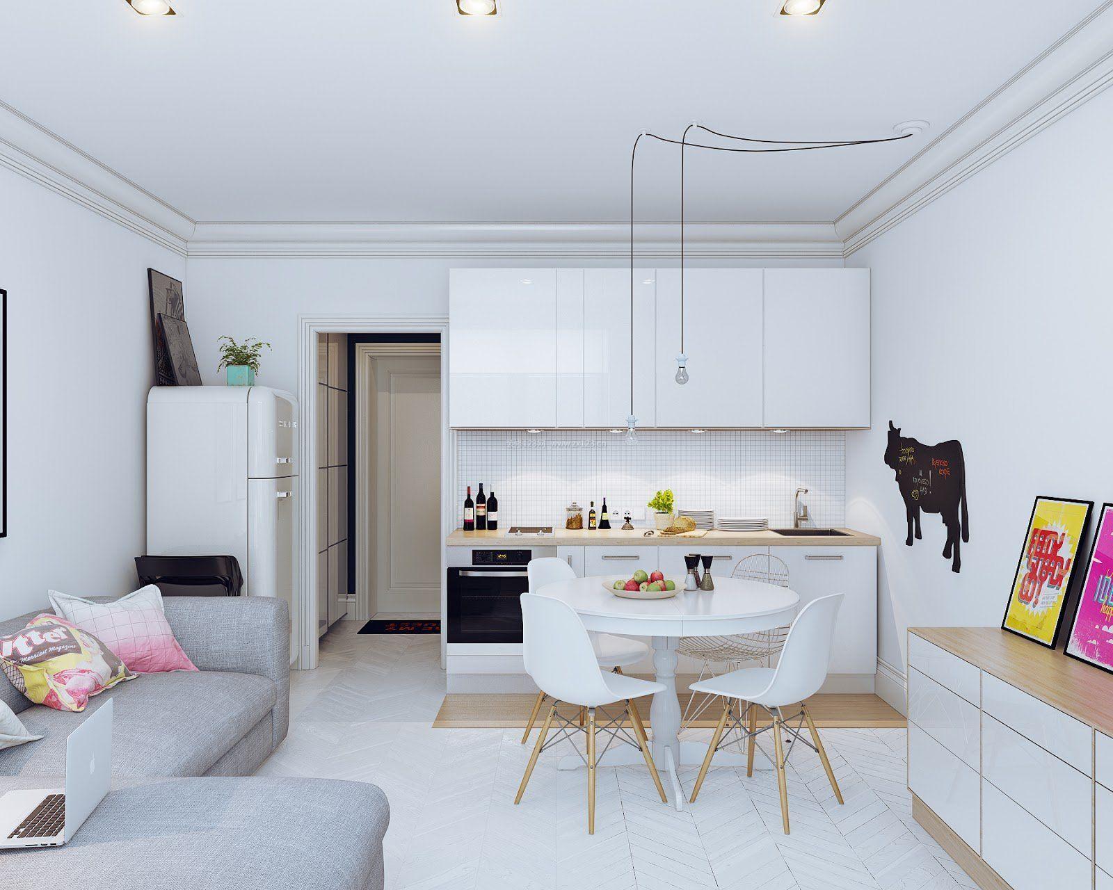 厨房和客厅一体装修图