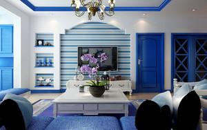 地中海風格客廳電視墻裝修效果圖
