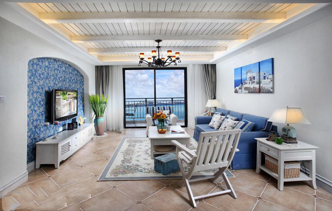 地中海风格两室两厅简洁客厅装修效果图