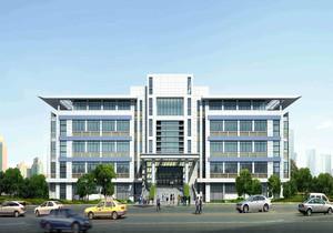 四层工厂办公楼仿石漆效果图