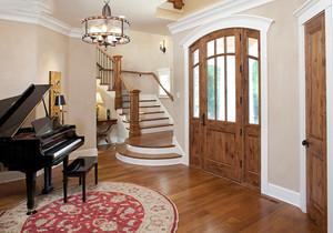 进门二楼梯正对客厅效果图