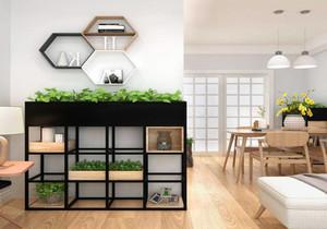 客厅木柜花架隔断效果图