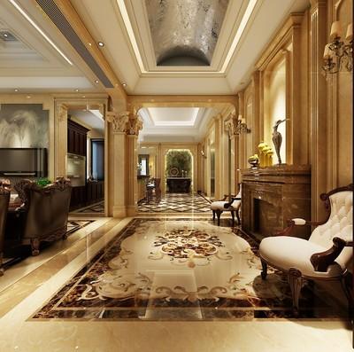 欧式客厅地面拼花效果图