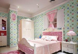 欧式卧室蓝色壁纸装修效果图