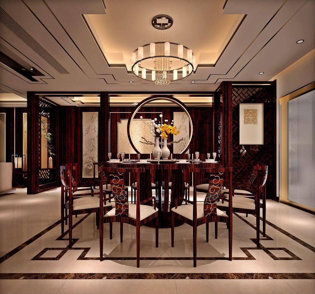 新中式客餐厅集成吊顶装修效果图