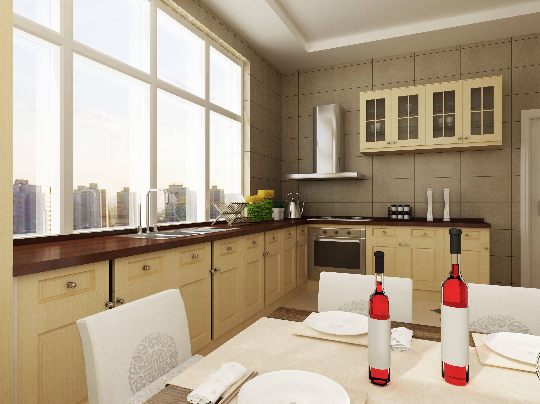 三面窗户的阳台一字型厨房装修效果图