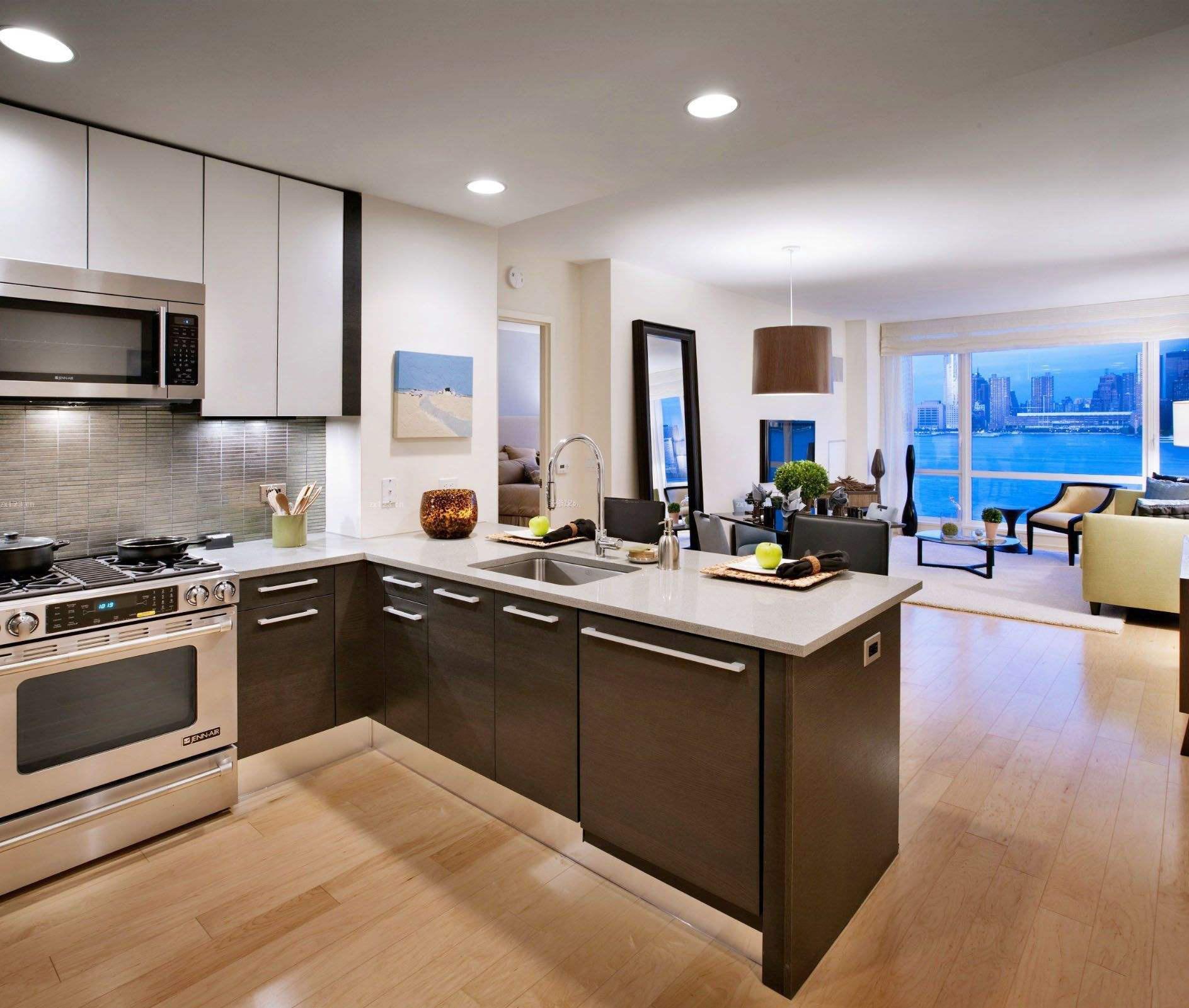 客厅做西式开放厨房装修效果图