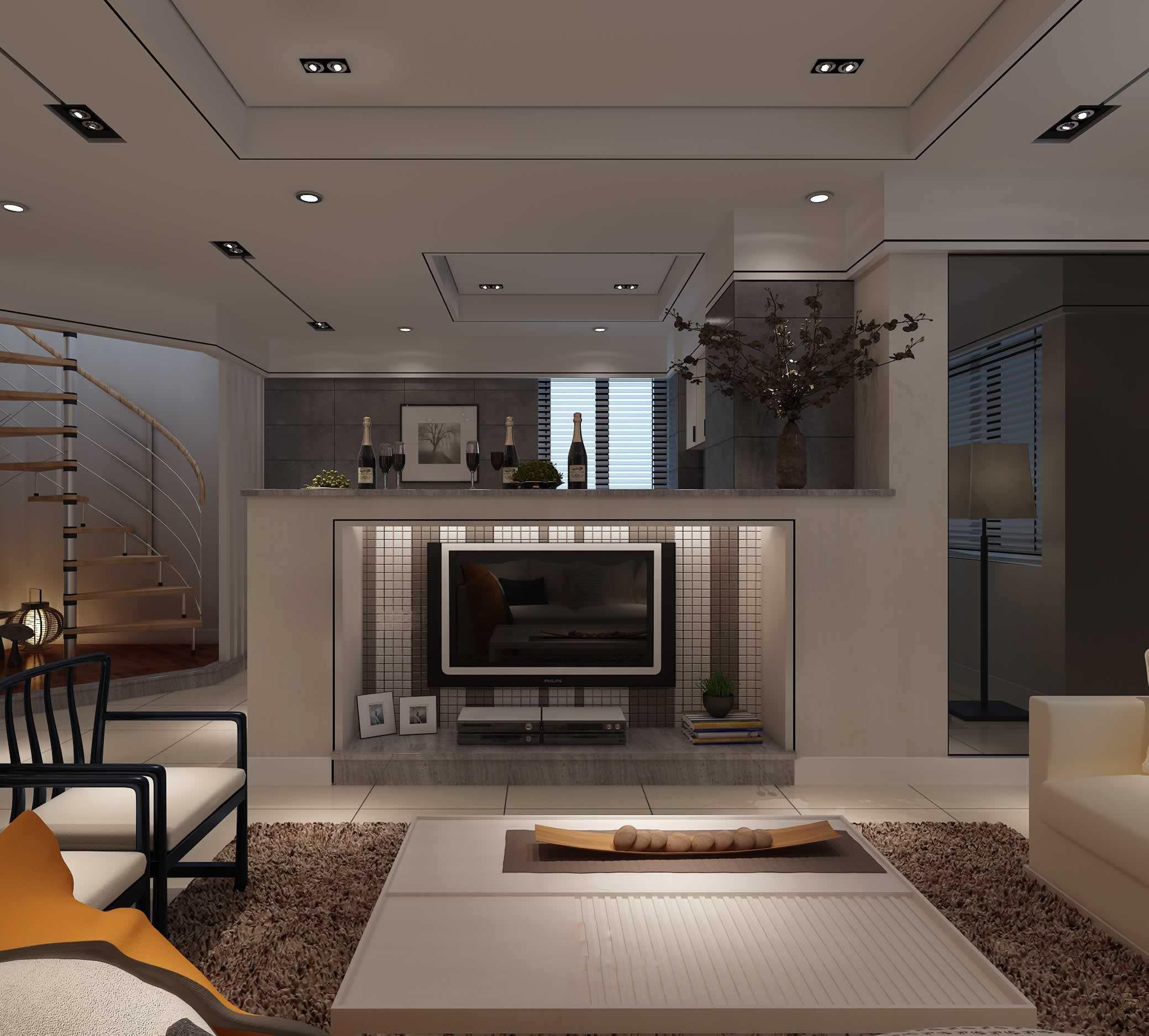 客厅与餐厅用电视隔断装修效果图大全