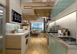 小户型客厅厨房一体隔断装修效果图