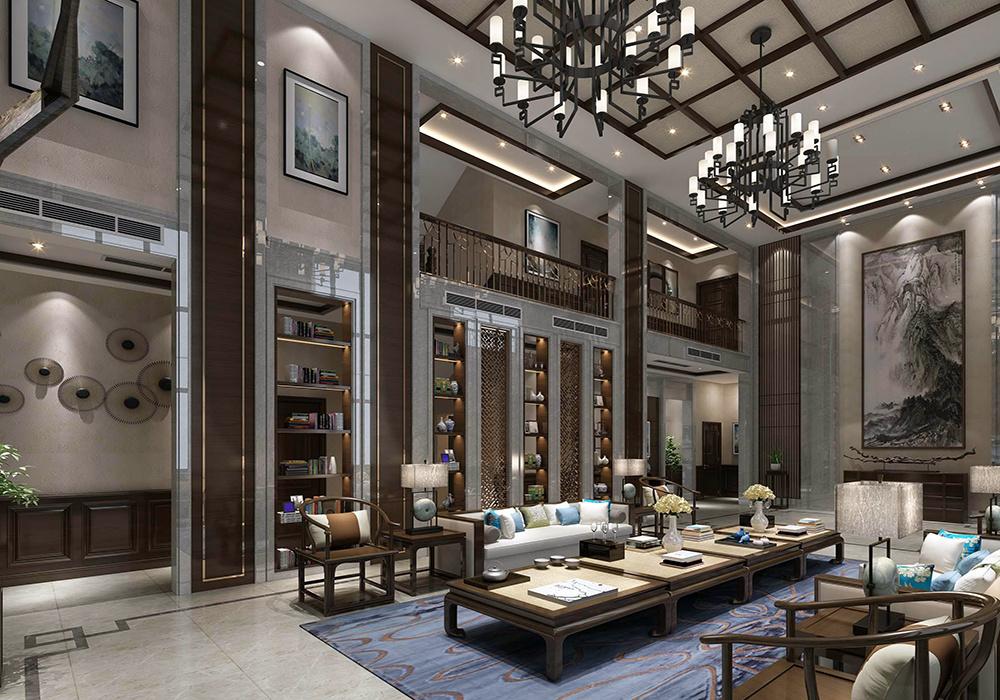 别墅新中式红木家具客厅装修效果图大全