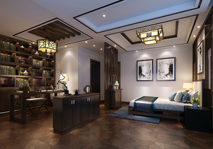 新中式卧室带书房装修效果图欣赏