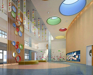 儿童培训学校大厅吊顶装修效果图