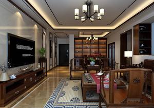 新中式客厅和阳台装修效果图