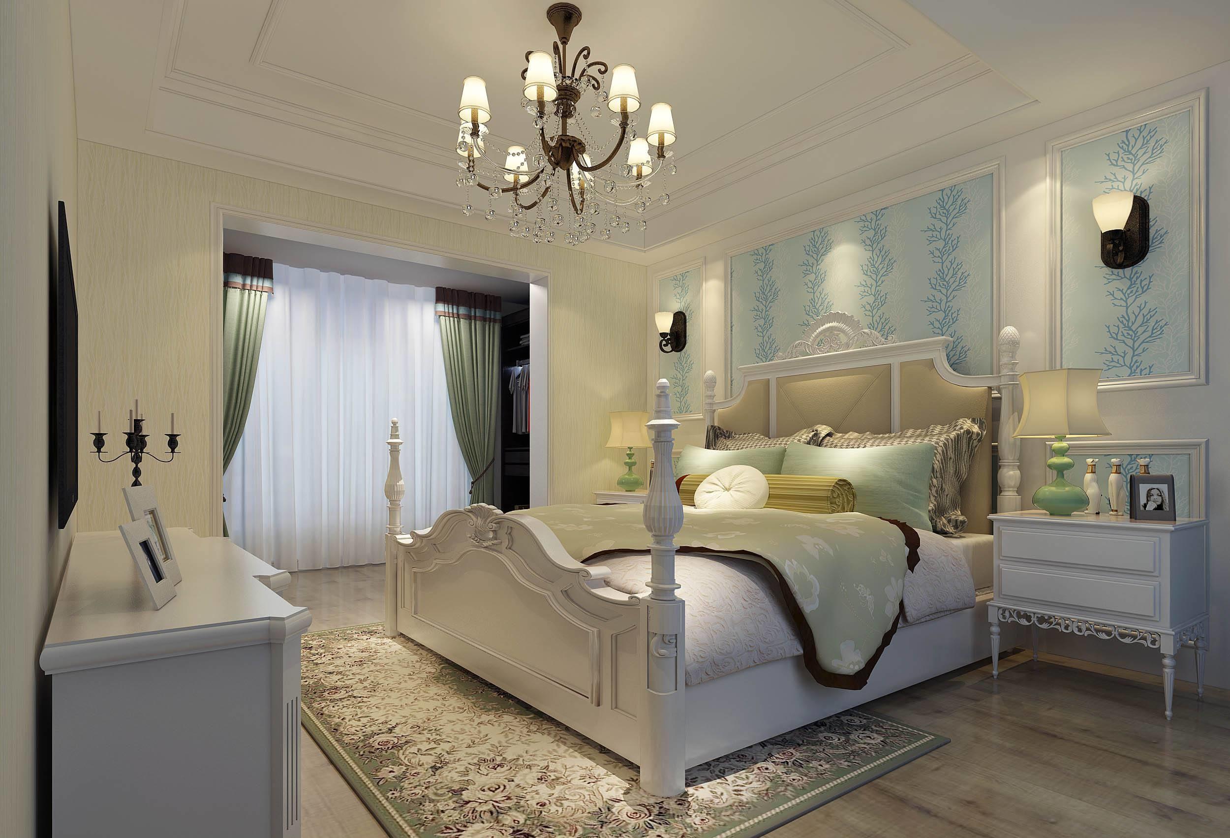 简美风格别墅卧室装修效果图