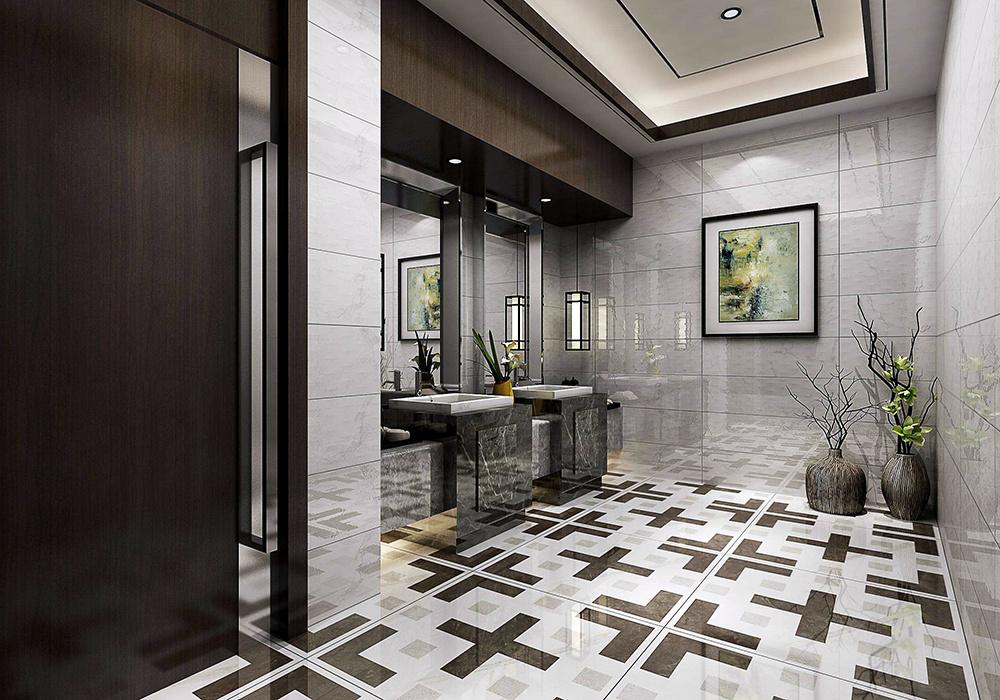 美式卫生间仿古砖装修效果图大全