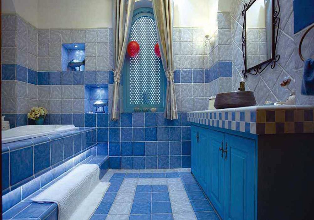 卫生间蓝色复古地砖装修效果图大全