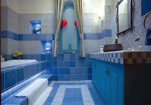 衛生間藍色復古地磚裝修效果圖大全
