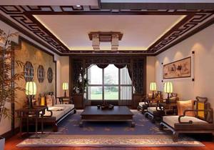 精致古典中式客廳實木家具效果圖