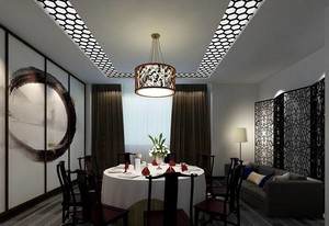 现代中式独立包间餐厅装修效果图