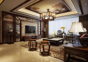 中式裝修的小客廳電視背景墻效果圖大全