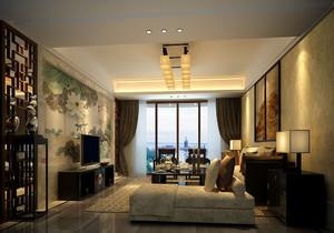 别墅新中式客厅装修电视墙效果图大全