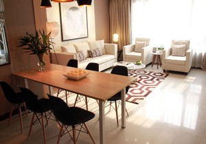 小客厅带餐桌装修图,客厅餐厅一体横式装修图