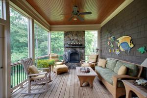 卧室和客厅相连的整体阳台装修效果图