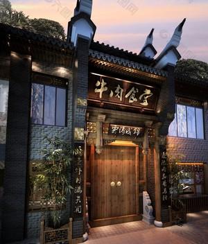 中式饭店门头设计效果图,农村饭店门头设计效果图大全