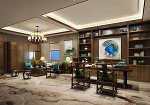 中式总经理办公室装修效果图,简单中式办公室装修效果图大全