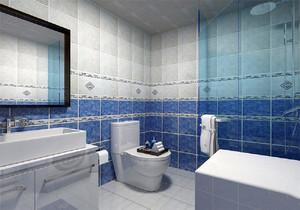 蓝色墙砖卫生间装修效果图,简欧风格蓝色卫生间装修效果图