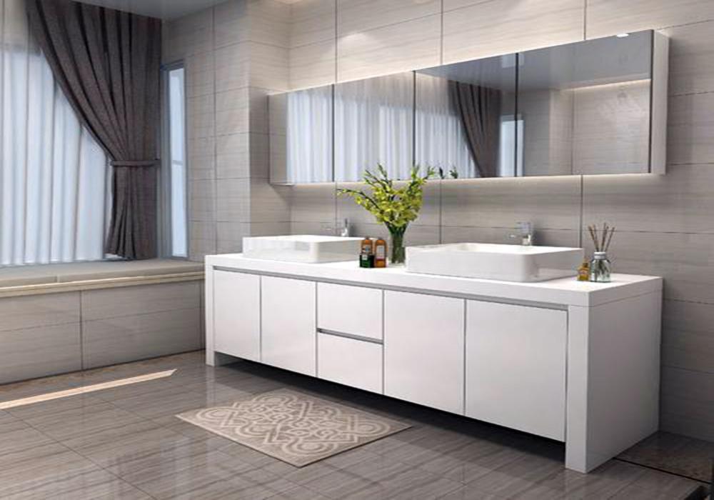 双洗手盆卫生间装修效果图,家庭卫生间洗手盆装修效果图