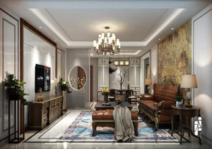 2019家庭装修客餐厅效果图,家庭装修新中式客餐厅吊顶效果图
