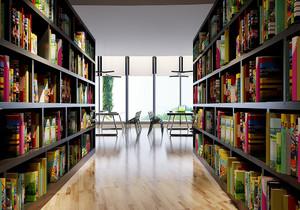 图书馆的室内效果图,学校图书馆室内效果图