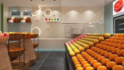 水果超市门脸装修效果图,水果超市立柱装修效果图