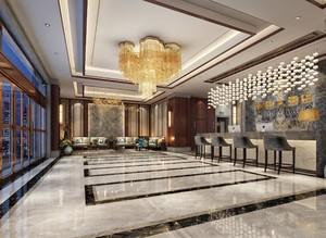 賓館大廳地面裝修效果圖,新中式賓館大廳裝修效果圖