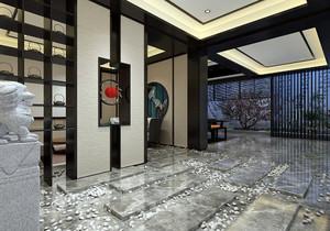 新中式进门玄关装修效果图欣赏,新中式进门玄关背景墙效果图大全