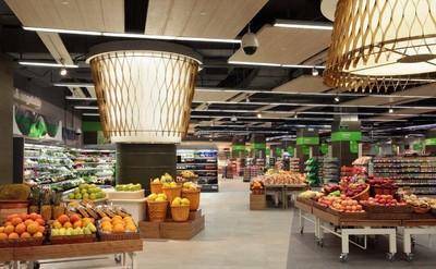 超市圆形吊顶装修效果图,超市粮油区吊顶装修效果图