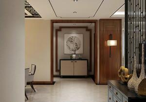 新中式进门玄关背景墙效果图,新中式入户进门玄关装修效果图大全