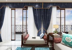 現代新中式窗簾效果圖,現代新中式高檔窗簾效果圖
