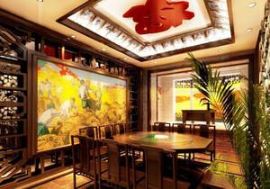 饭店复古中式特色装修效果图,特色农家乐饭店装修效果图