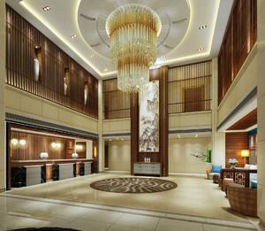 新中式会所大堂装修效果图,新中式养生会所大厅装修效果图