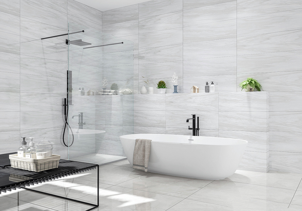 浅灰色地砖上墙卫生间效果图,浅灰色地砖卫生间效果图